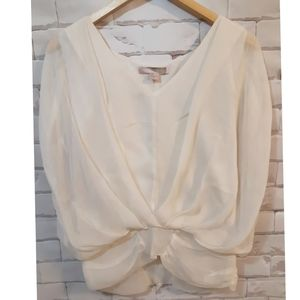 Silk Blouse with Sheer Sleeves